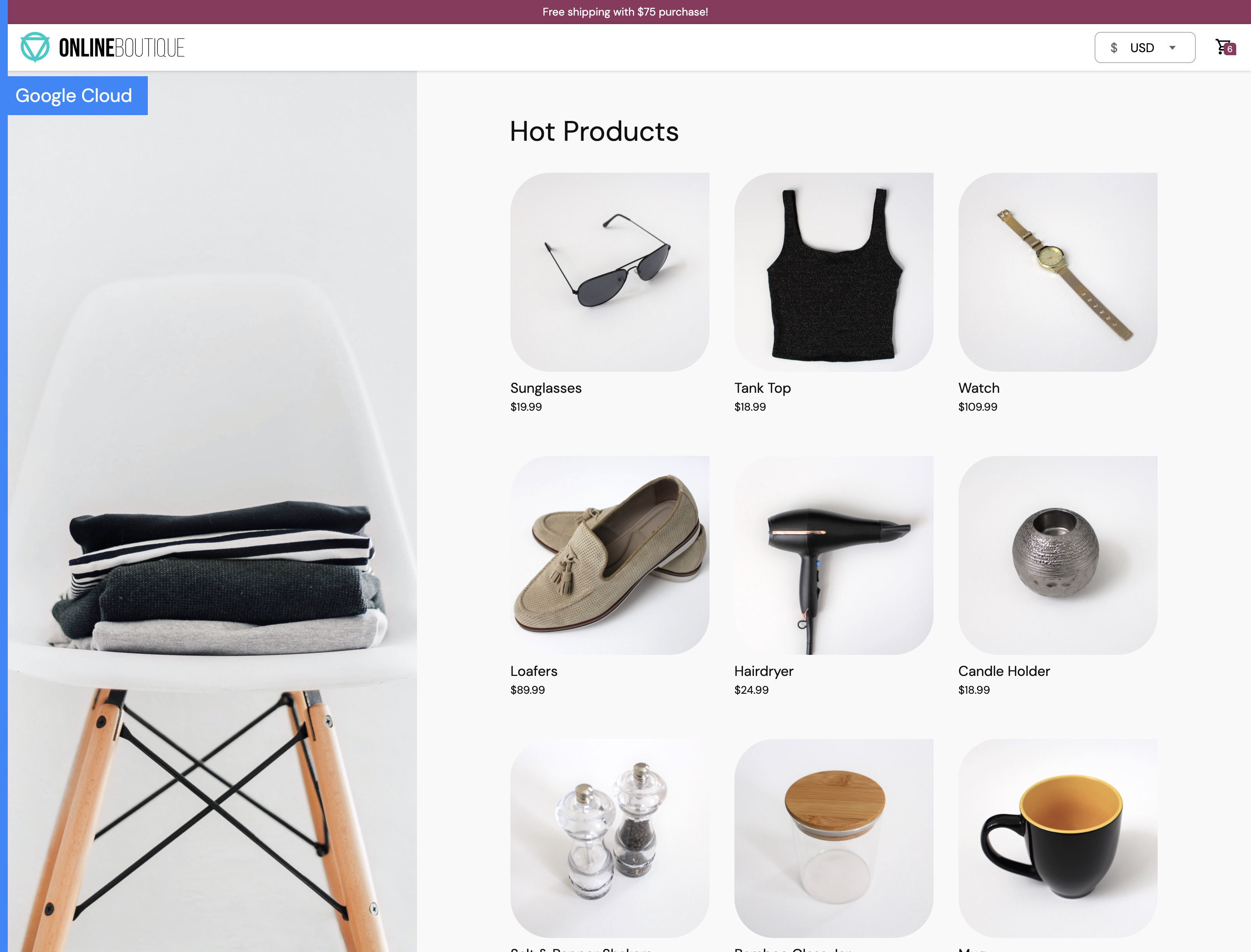 Screenshot of store homepage