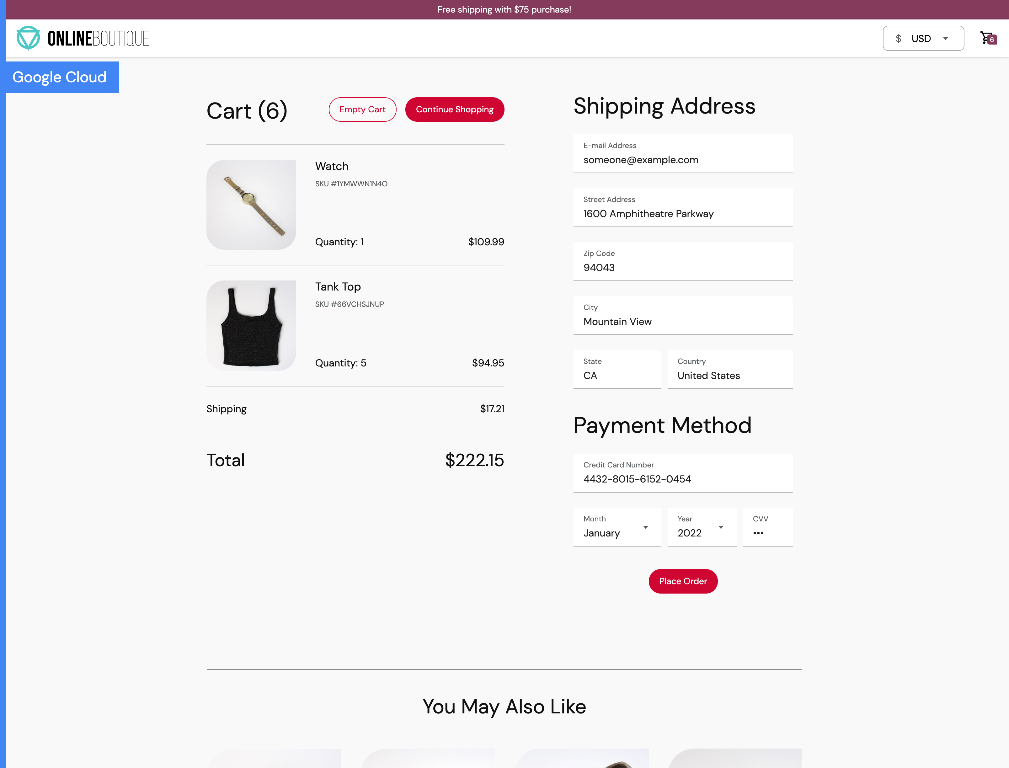Screenshot of checkout screen