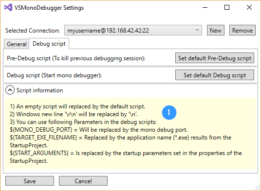 VSMonoDebugger Settings