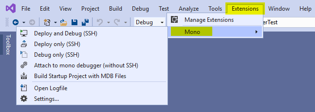 Visual Studio 2019 Extensions Menu