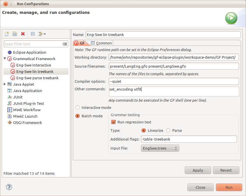 Launch configuration dialog