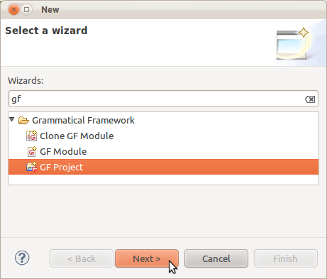 New project wizard