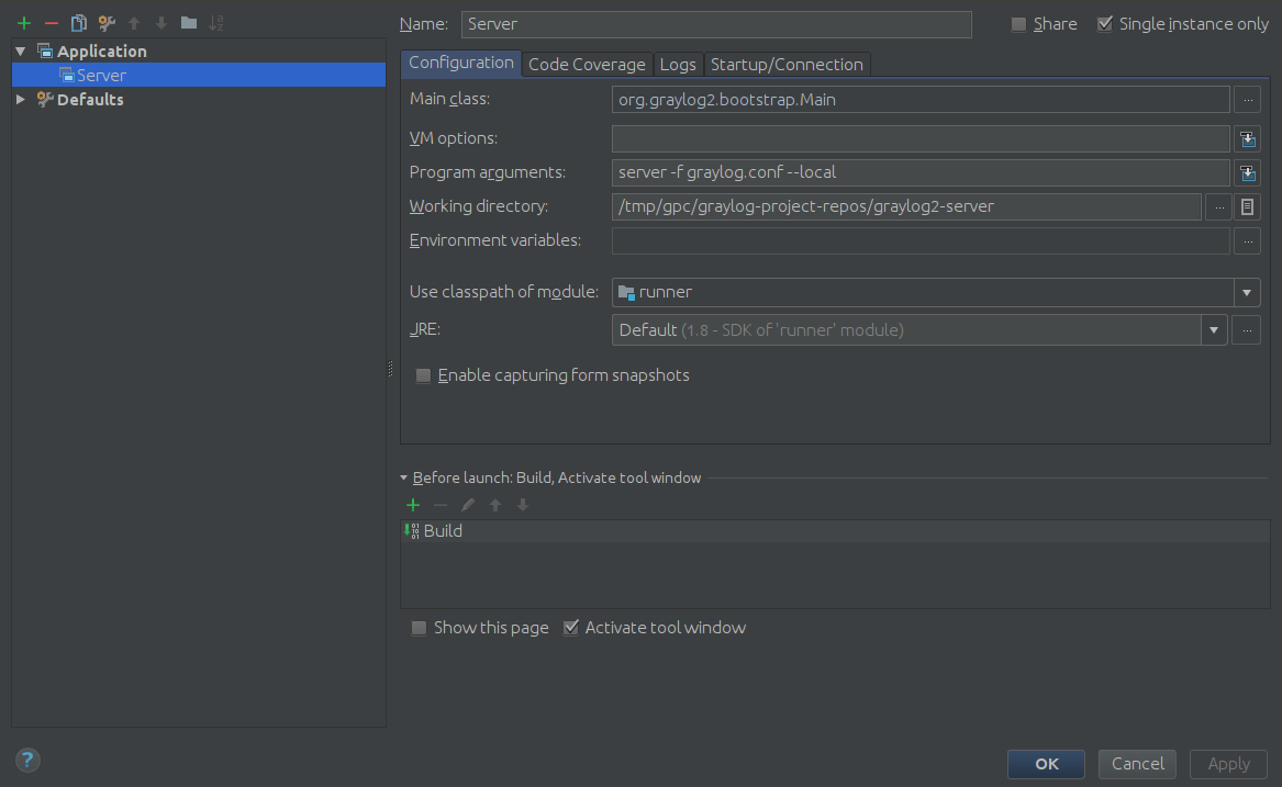 IntelliJ Run Config