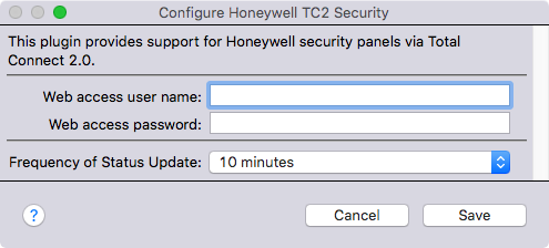 Configure Honeywell TC2 Security dialog box. Type a Web access user name and a Web access password at the prompts.