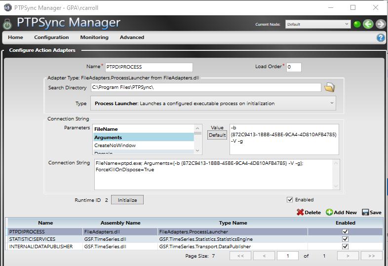 PTPSync Manager Config Screen