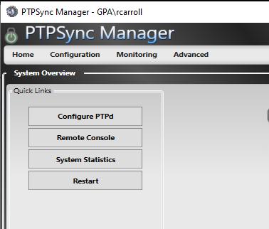 PTPSync Manager Home Screen
