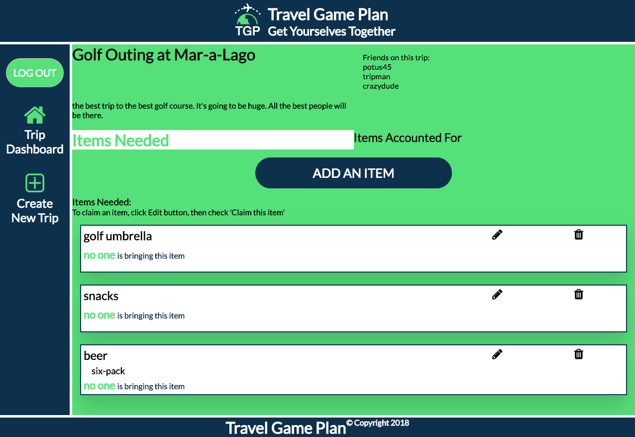 Game Plan List - Items Needed Page preview