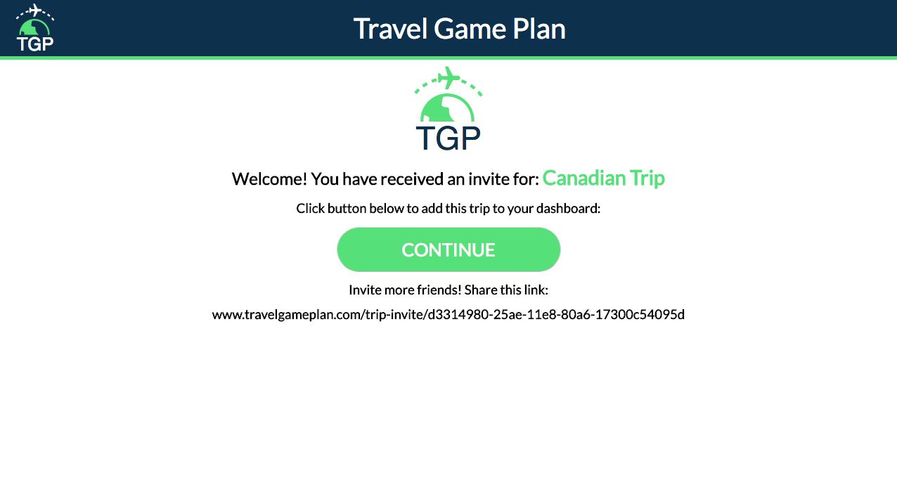 Trip Invite Link preview