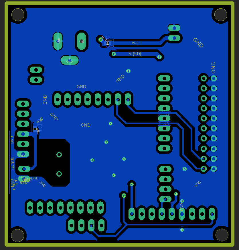 Atmega32-PS2 interface PCB: Bottom