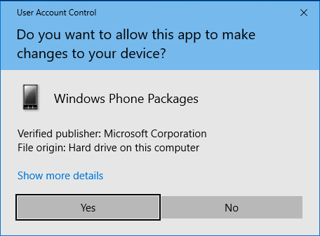Windows phone packages User Account Control