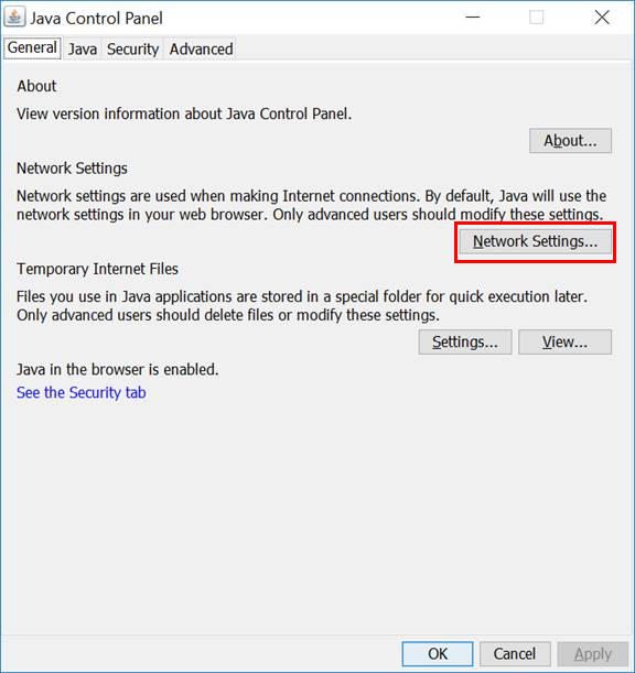 java control panel network settings