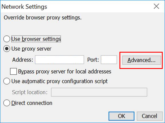 network settings advanced button