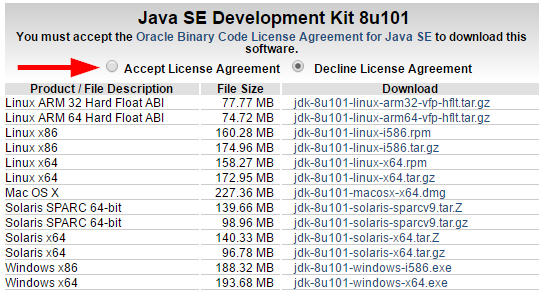 JDK 8 Accept License