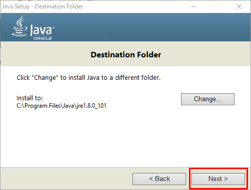 destination folder input