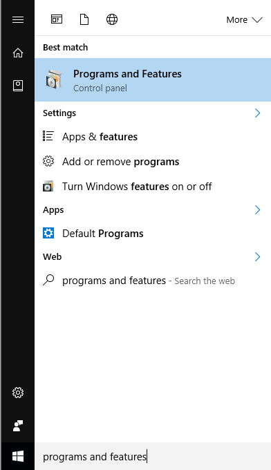 start menu programs and features