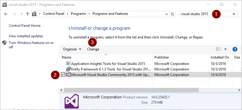 find visual studio 2015 and click change