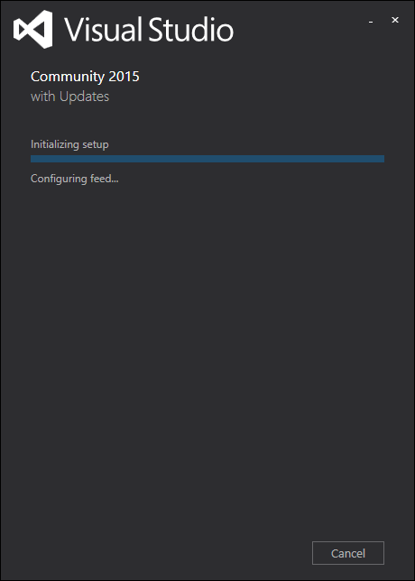 waiting for visual studio installer to configure feed