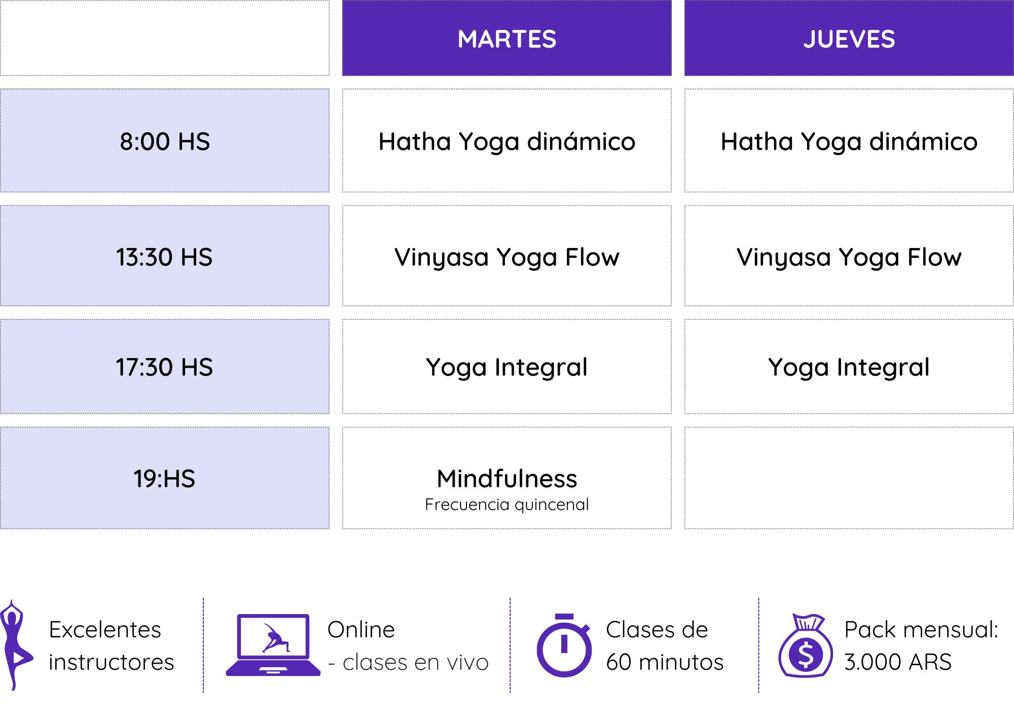 horario yoga