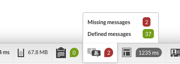 Image of the toolbar with missing translations