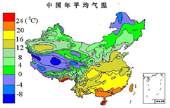 中国年平均气温图