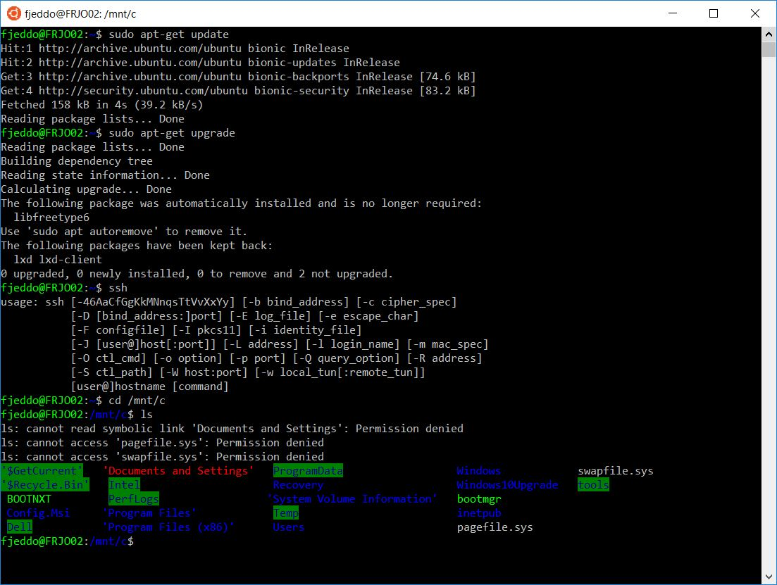 Blandade kommandon, i Ubuntu 18.04 LTS på Windows