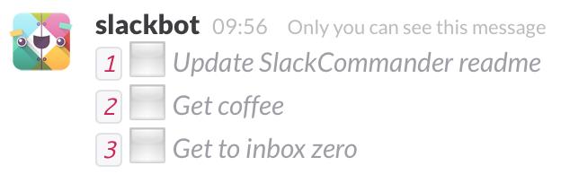 SlackCommander /todo response