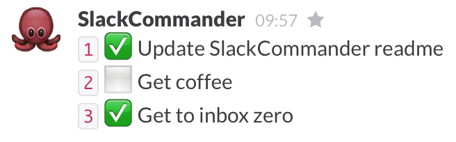 SlackCommander /todo show response