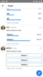 Feed poll screen