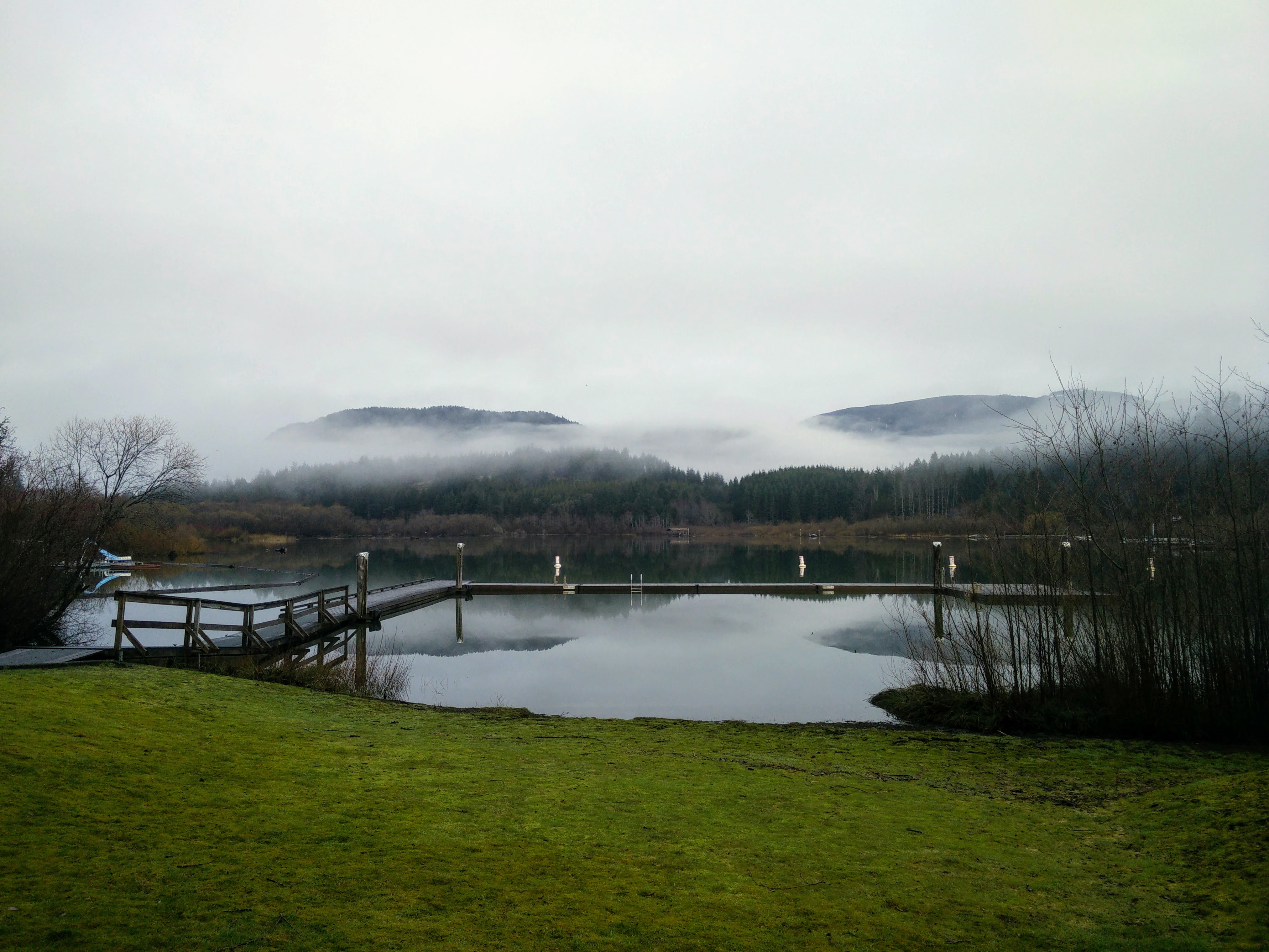 A foggy lake in Cowichan Valley