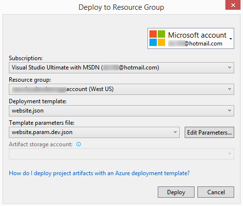 Deploy To Resource Group Dialog Box