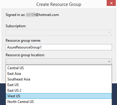 Create Resource Group Dialog Box