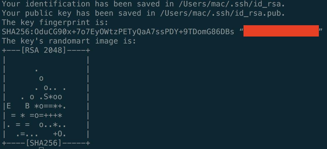 ssh key 创建成功