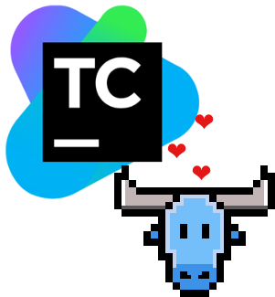 atoum's logo + TeamCity's logo with floating hearts