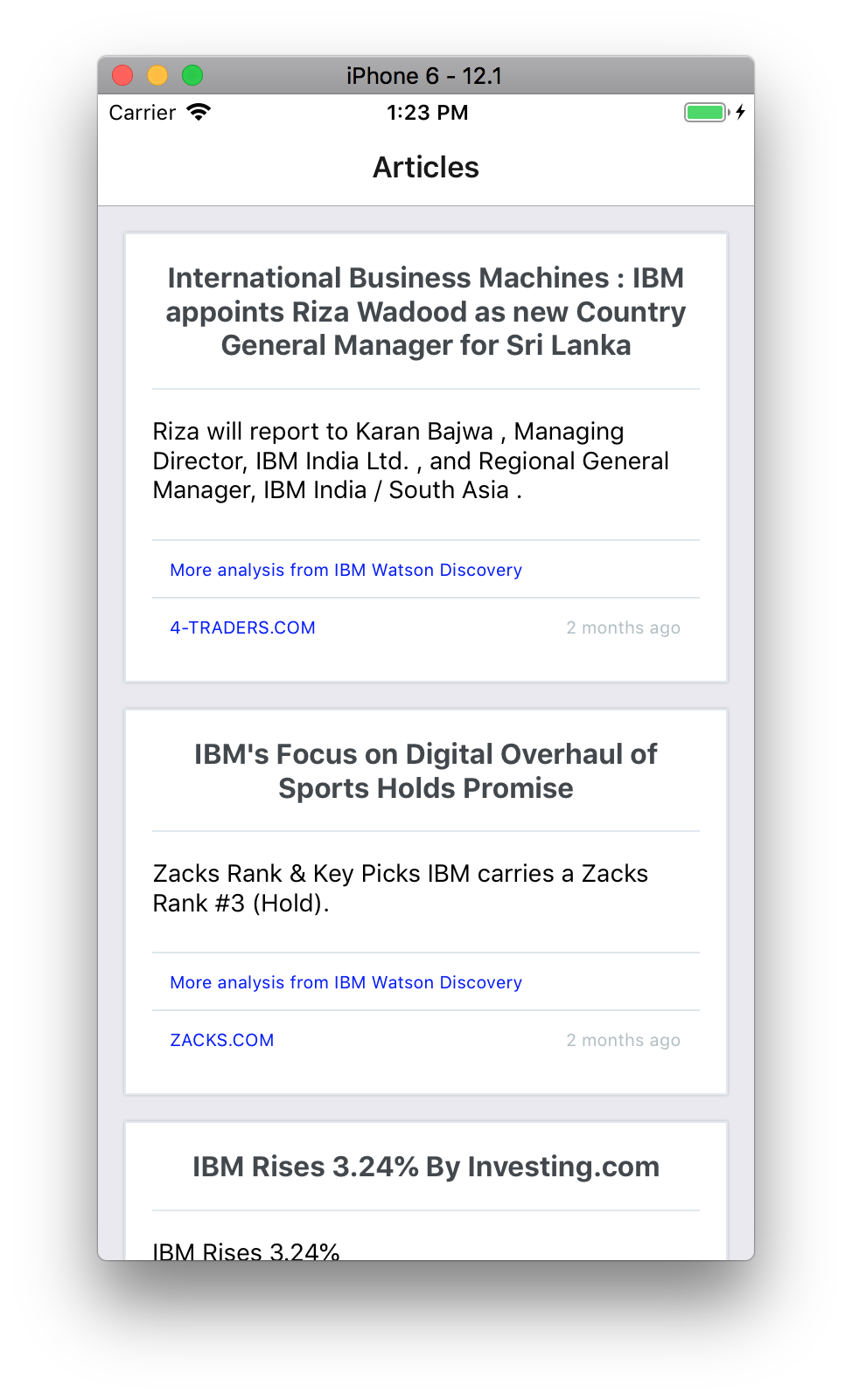 Cross-platform React Native news app using IBM Watson Discovery