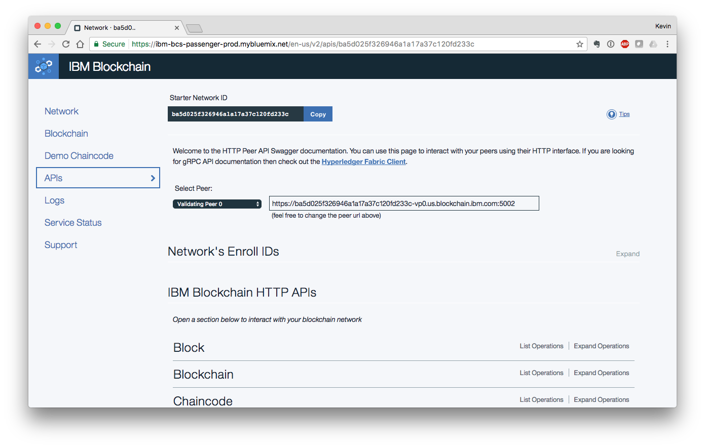 Landing page for the IBM Blockchain console.
