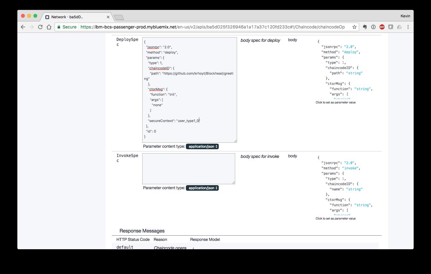 Deploying chaincode using the IBM Blockchain console.