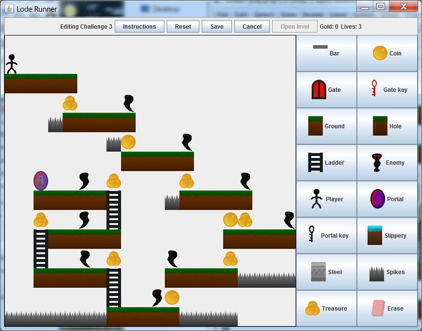 Screenshot of editing a level