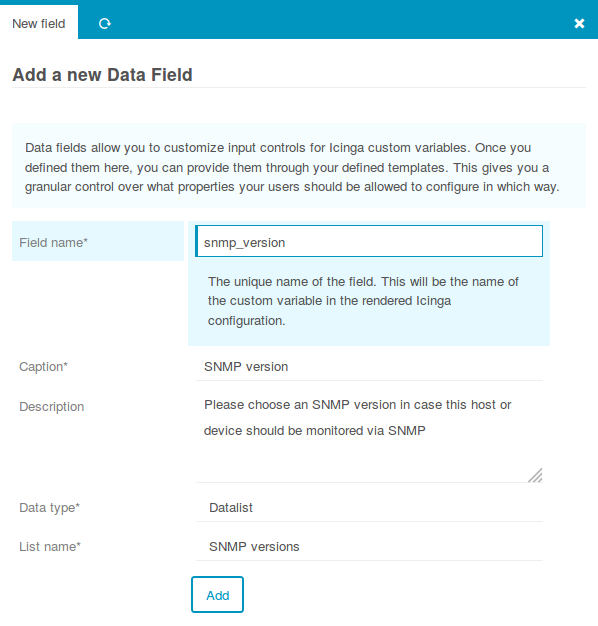Create a Data Field for SNMP Versions