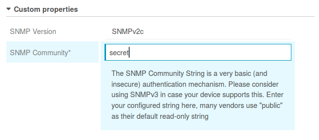 Community String for SNMPv2c