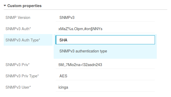Auth and Priv properties for SNMPv3