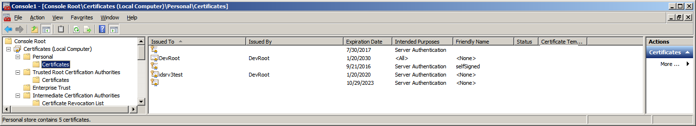 Screenshot of Personal Certificates after installation of idsrv3test.pfx