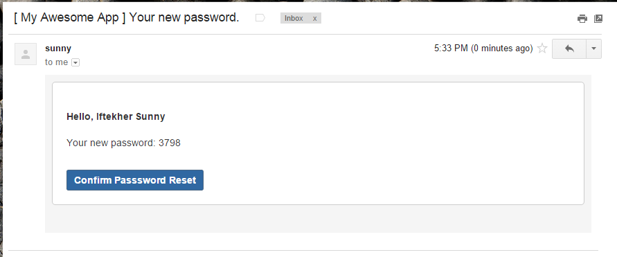 New Password Confirmation Email