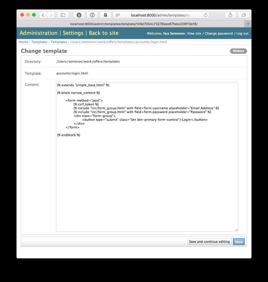 Github ilyasemenovdjango templates admin edit project template editing a template maxwellsz