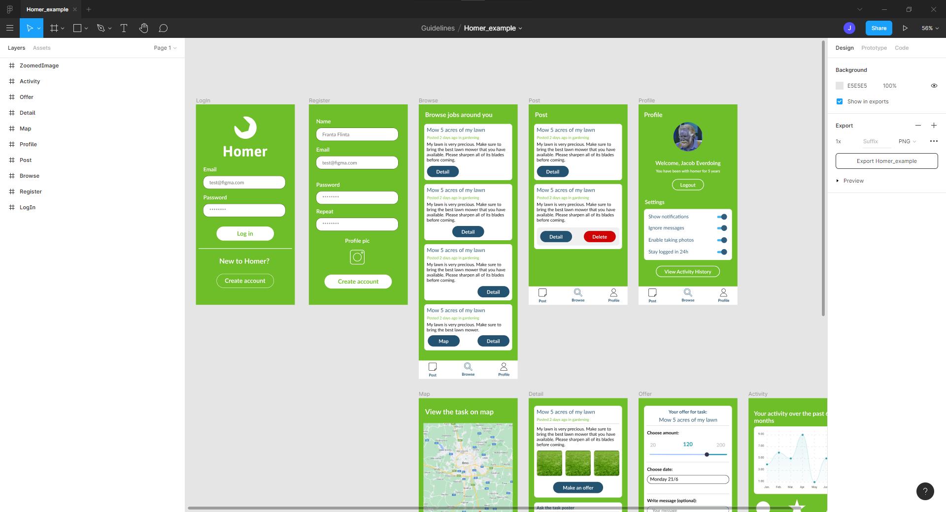 screenshot of figma homer