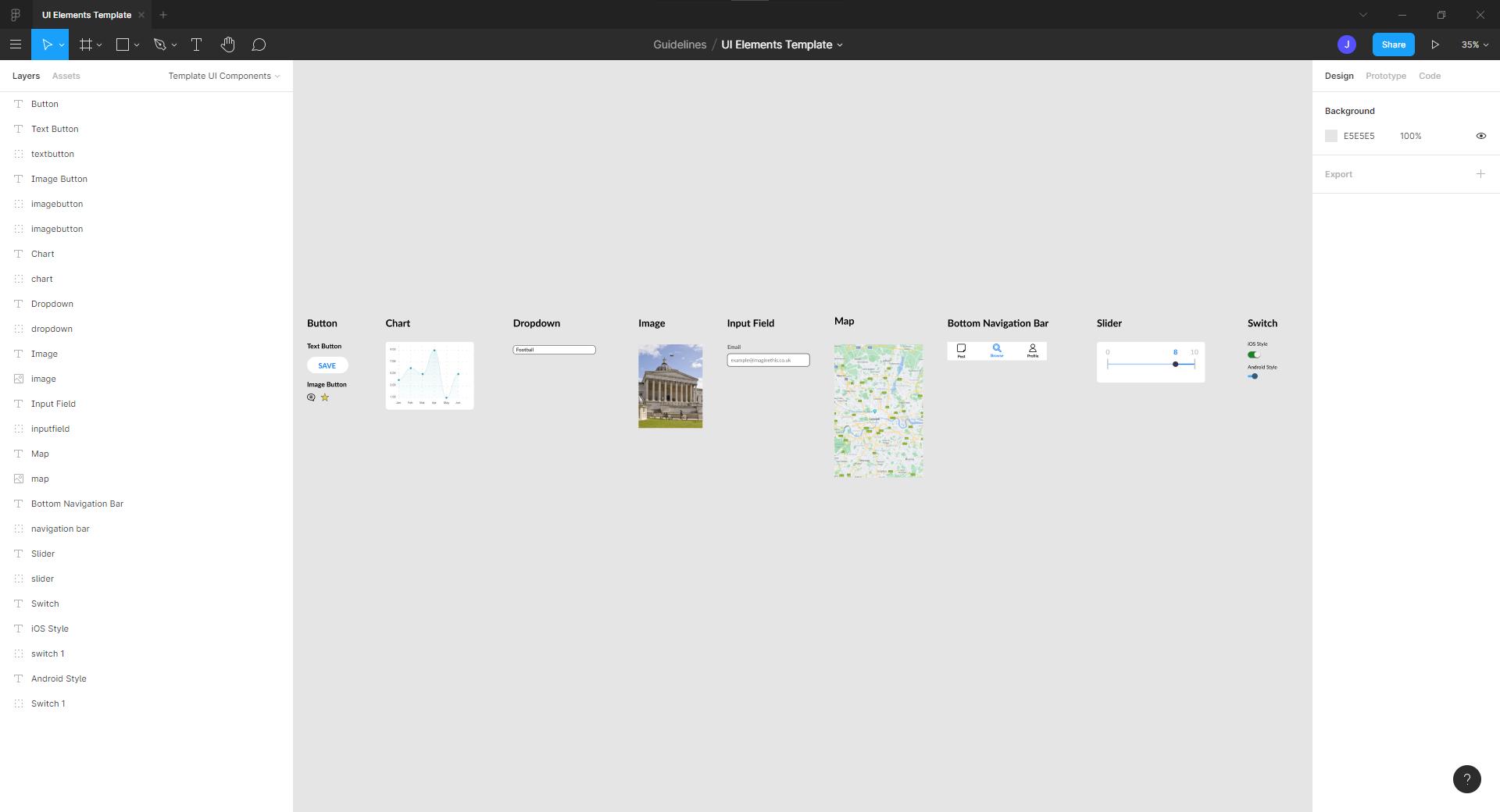 screenshot of figma elements