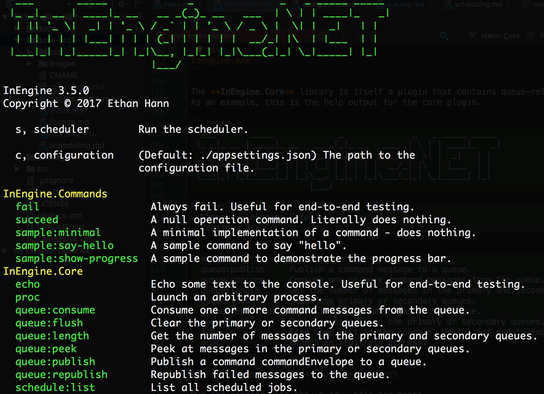 InEngine Command List