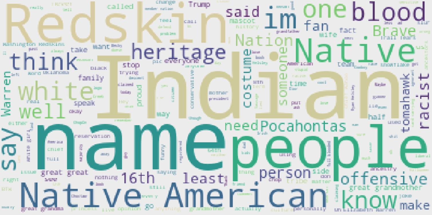 Cherokee word cloud, 38,000 tweets, January-February 2020