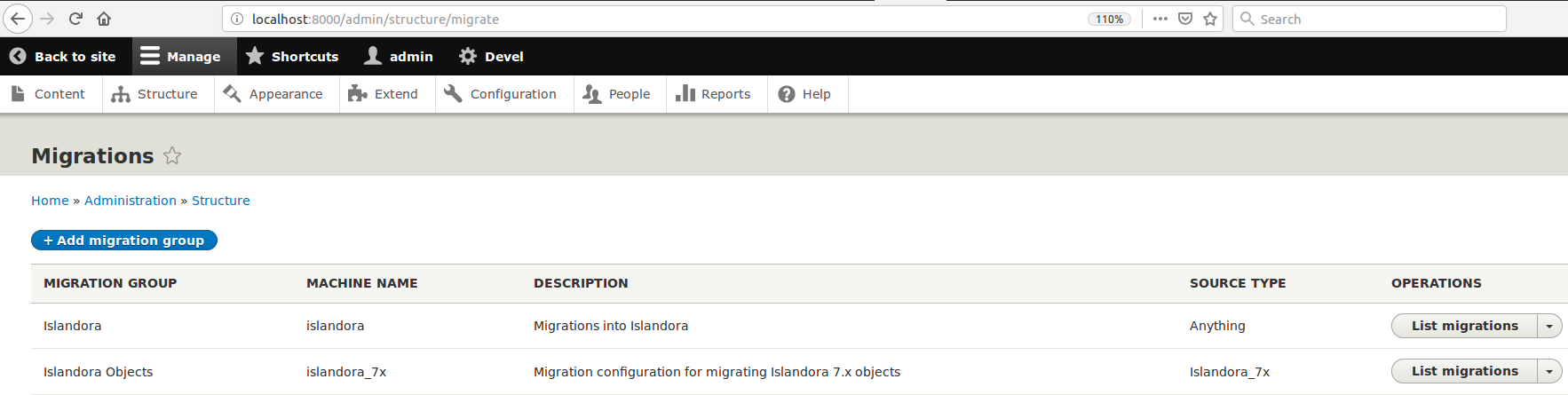 Migrations Groups