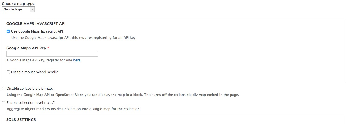 Google Maps Javascript options screenshot