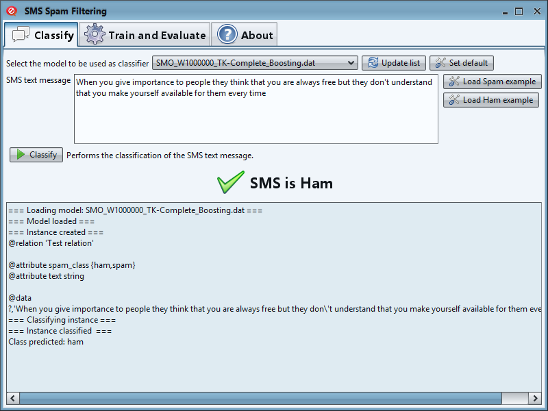 Classify - SMS is Ham